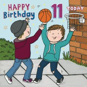 JJ12  Boys Basketball Age 11 Birthday Card